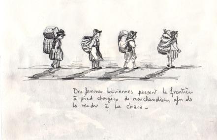 Femmes boliviennes à la frontière