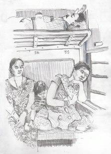 une famille dans le train