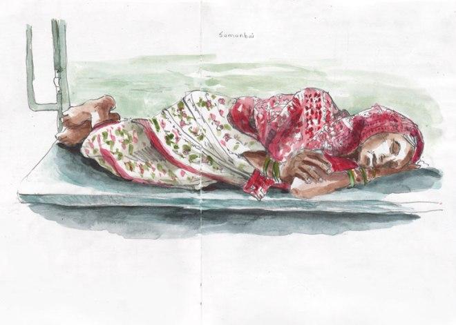 femme dormant dans le train