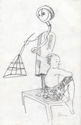 Prisca devant la sculpture